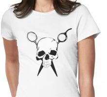 Skull and Shears Hair Stylist Art Womens Fitted T-Shirt