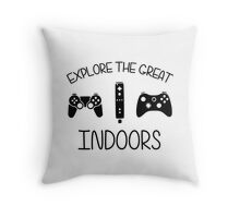 Explore The Great Indoors Video Games Throw Pillow