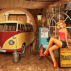 Pin up girl in nostalgic workshop by Monika Juengling