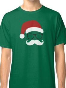 Funny Santa Claus with nerd glasses and mustache Classic T-Shirt