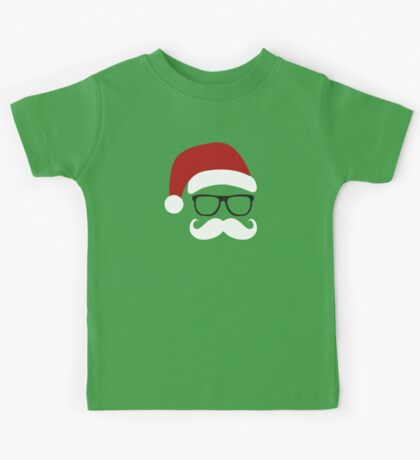 Funny Santa Claus with nerd glasses and mustache Kids Clothes