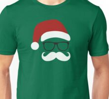 Funny Santa Claus with nerd glasses and mustache Unisex T-Shirt