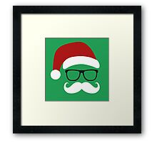 Funny Santa Claus with nerd glasses and mustache Framed Print