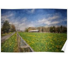 Stone Barn On A Spring Morning Poster
