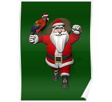 Santa Claus Loves Sweet Parrots Poster