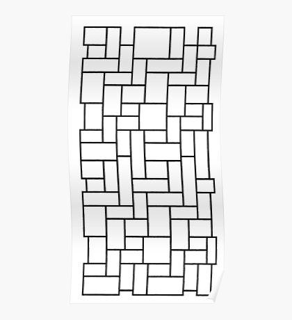 Black outline of mosaic edit Poster