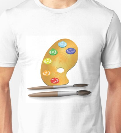 two brushes and paint Unisex T-Shirt