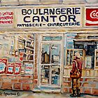 SHOPPING AT THE LOCAL BAKERY BOULANGERIE CANTOR MONTREAL CITY SCENES PAINTINGS by Carole  Spandau