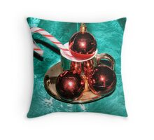Christmas Balls and Candy Cane Throw Pillow
