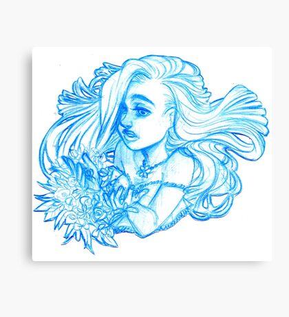 Flowers blue girl Canvas Print