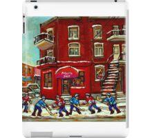 STREET HOCKEY NEAR THE CORNER STORE AND WINDING STAIRCASES VERDUN MONTREAL WINTER CITY SCENES iPad Case/Skin