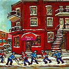 STREET HOCKEY NEAR THE CORNER STORE AND WINDING STAIRCASES VERDUN MONTREAL WINTER CITY SCENES by Carole  Spandau