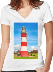 Smeaton's Tower  Women's Fitted V-Neck T-Shirt