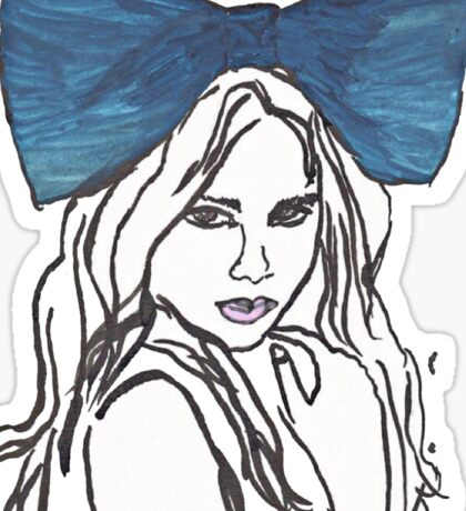 girl in a blue bow Sticker