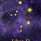 Libra Zodiac constellation, astronomy, astrology, horoscope, watercolour space painting with gold effect stars, font and symbol. by Sandra O'Connor