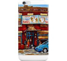 STREET HOCKEY GAME NEAR THE BAGEL SHOP FAIRMOUNT BAGEL MONTREAL WINTER STREET SCENE PAINTINGS iPhone Case/Skin