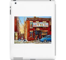 STREET HOCKEY GAME NEAR THE BAGEL SHOP FAIRMOUNT BAGEL MONTREAL WINTER STREET SCENE PAINTINGS iPad Case/Skin