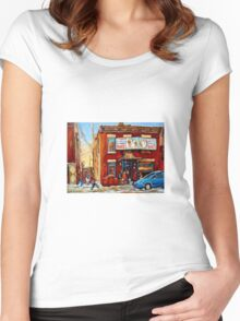 STREET HOCKEY GAME NEAR THE BAGEL SHOP FAIRMOUNT BAGEL MONTREAL WINTER STREET SCENE PAINTINGS Women's Fitted Scoop T-Shirt