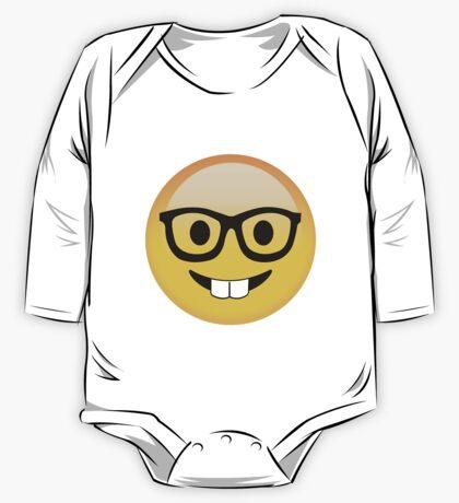 Funny Kids Smart Nerdy Emoji - Gift Idea for Women Men Boys And Girls One Piece - Long Sleeve