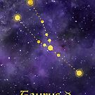 Taurus Zodiac constellation, astronomy, astrology, horoscope, watercolour space painting with gold effect stars, font and symbol. by Sandra O'Connor