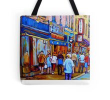 SHOPPING ALONG RUE ST.LAURENT SHOPS AND DELIS MONTREAL PAINTINGS AND PRINTS FOR SALE Tote Bag