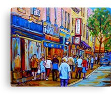 SHOPPING ALONG RUE ST.LAURENT SHOPS AND DELIS MONTREAL PAINTINGS AND PRINTS FOR SALE Canvas Print