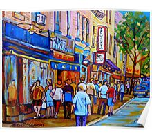 SHOPPING ALONG RUE ST.LAURENT SHOPS AND DELIS MONTREAL PAINTINGS AND PRINTS FOR SALE Poster