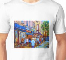 SHOPPING ALONG RUE ST.LAURENT SHOPS AND DELIS MONTREAL PAINTINGS AND PRINTS FOR SALE Unisex T-Shirt