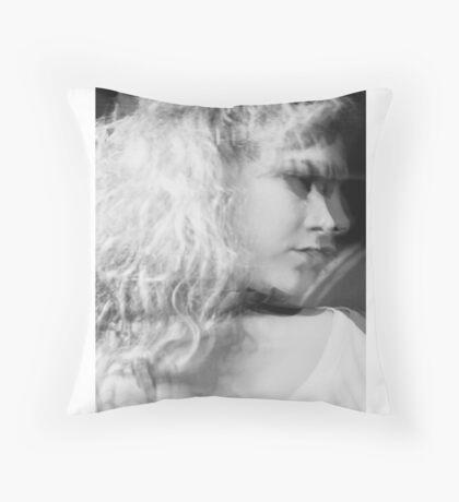 black and white girl portrait Throw Pillow
