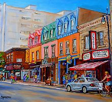 BIKING PAST THE DELI ON RUE ST.LAURENT MONTREAL PAINTINGS AND SCENES by Carole  Spandau