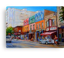 BIKING PAST THE DELI ON RUE ST.LAURENT MONTREAL PAINTINGS AND SCENES Canvas Print