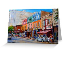 BIKING PAST THE DELI ON RUE ST.LAURENT MONTREAL PAINTINGS AND SCENES Greeting Card