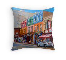 BIKING PAST THE DELI ON RUE ST.LAURENT MONTREAL PAINTINGS AND SCENES Throw Pillow