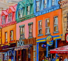 BIKING PAST THE DELI ON RUE ST.LAURENT MONTREAL PAINTINGS AND SCENES Sticker