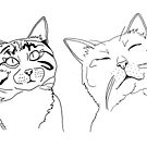 Cat Mood Line Art by Dave Texidor