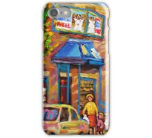 BEAUTIFUL SUMMER SCENE AT THE FAIRMOUNT BAGEL MONTREAL PAINTINGS AND PRINTS iPhone Case/Skin