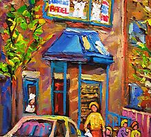 BEAUTIFUL SUMMER SCENE AT THE FAIRMOUNT BAGEL MONTREAL PAINTINGS AND PRINTS by Carole  Spandau