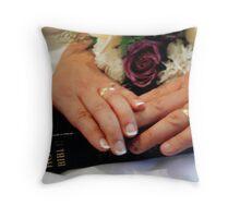 The Bride, The Groom & God Throw Pillow