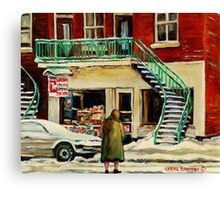 WALKING TO THE DEPANNEUR ON A SNOWY MORNING MONTREAL WINTER CITY PAINTINGS Canvas Print