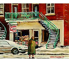 WALKING TO THE DEPANNEUR ON A SNOWY MORNING MONTREAL WINTER CITY PAINTINGS Photographic Print
