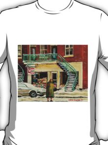 WALKING TO THE DEPANNEUR ON A SNOWY MORNING MONTREAL WINTER CITY PAINTINGS T-Shirt
