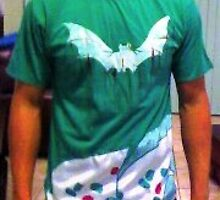 white bats green t-shirt by artivicki