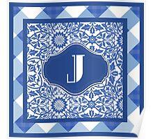 Letter J Monogram in Indigo Patterns Poster
