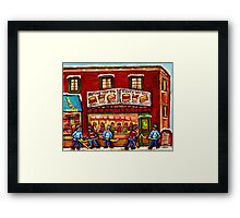 WINTER STREET HOCKEY GAME NEAR THE HOT DOG SPOT MONTREAL HOCKEY PAINTINGS Framed Print