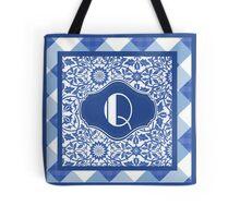 Letter Q Monogram in Indigo Patterns Tote Bag