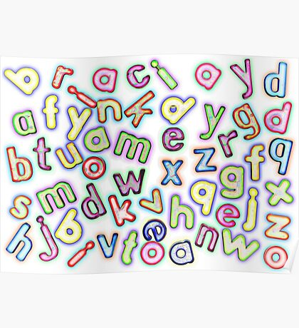 Jumbled Multi Coloured Letters Pastel Poster