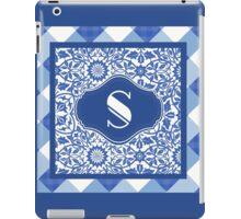 Letter S Monogram in Indigo Patterns iPad Case/Skin