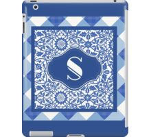Letter S Monogram in Indigo Patterns iPad Case/Skin