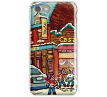 HOCKEY PRACTICE AT THE STEAK HOUSE MOISHE'S RESTAURANT MONTREAL PAITNINGS iPhone Case/Skin