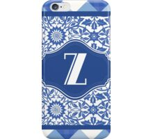 Monogram Initial Z in Indigo Patterns iPhone Case/Skin